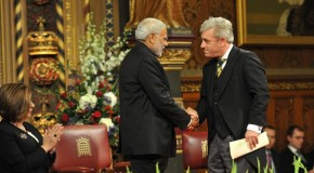 Prime Minister Narendra Modi being welcomed by Speaker of the House of Commons Mr. John Bercow at British Parliament in Westminster, London