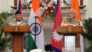 The Prime Minister, Shri Narendra Modi and the Prime Minister of Nepal, Shri K.P. Sharma Oli at the joint media briefing, at Hyderabad House, in New Delhi on February 20, 2016.