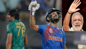 India's Virat Kohli celebrates after India won the ICC World Twenty20 2016 cricket match against Pakistan at Eden Gardens in Kolkata, India, Saturday, March 19, 2016. India won by six wickets. (AP Photo/ Bikas Das)