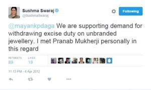 sushma swaraj tweet jwellery