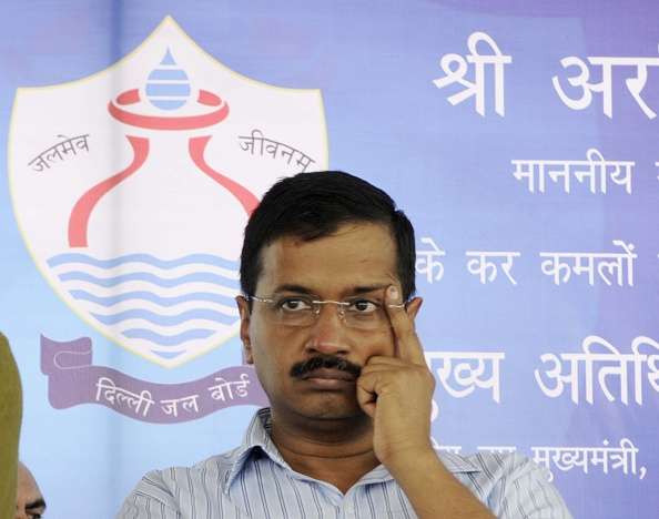 NEW DELHI, INDIA - APRIL 21: Delhi Chief Minister Arvind Kejriwal during the inauguration of the Bawana water treatment plant with a capacity of 20 million gallons daily (MGD), the plant is expected to boost the capital's water supply, on April 21, 2015 in New Delhi, India. (Photo by Sushil Kumar/Hindustan Times via Getty Images)