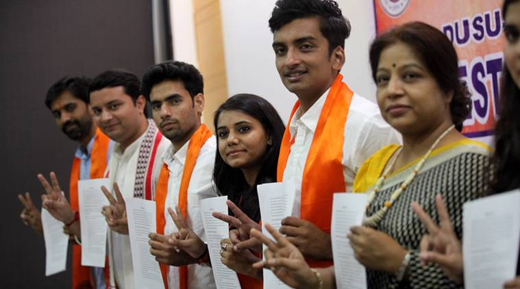 ABVP Candidates for the forthcoming DUSU elections at the manifesto release during a presser in the capital New Delhi on monday. Express Photo by Tashi Tobgyal New Delhi 050916