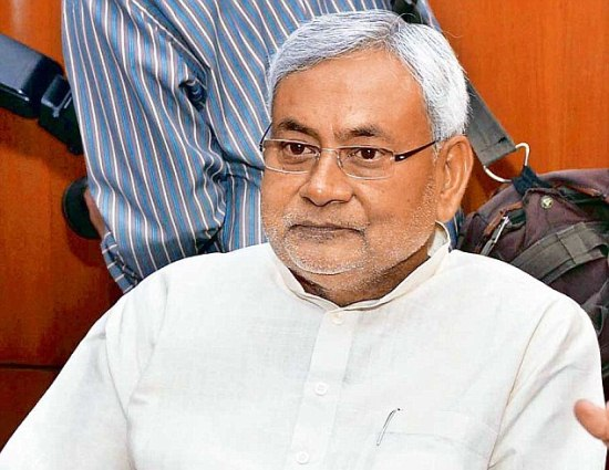 Former Bihar CM senior JD(U) leader Nitish Kumar  with CPI leader D Raja during a meeting in New Delhi on Sunday. Photo by K Asif 06/07/14